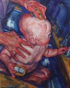 Bathtime hands motherhood